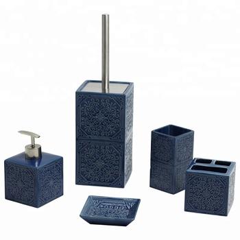 sinopsis accessoires salle de bain bleu