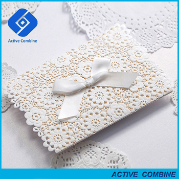 Hot White Lace Philippines Laser Cut Wedding Invitations Cards