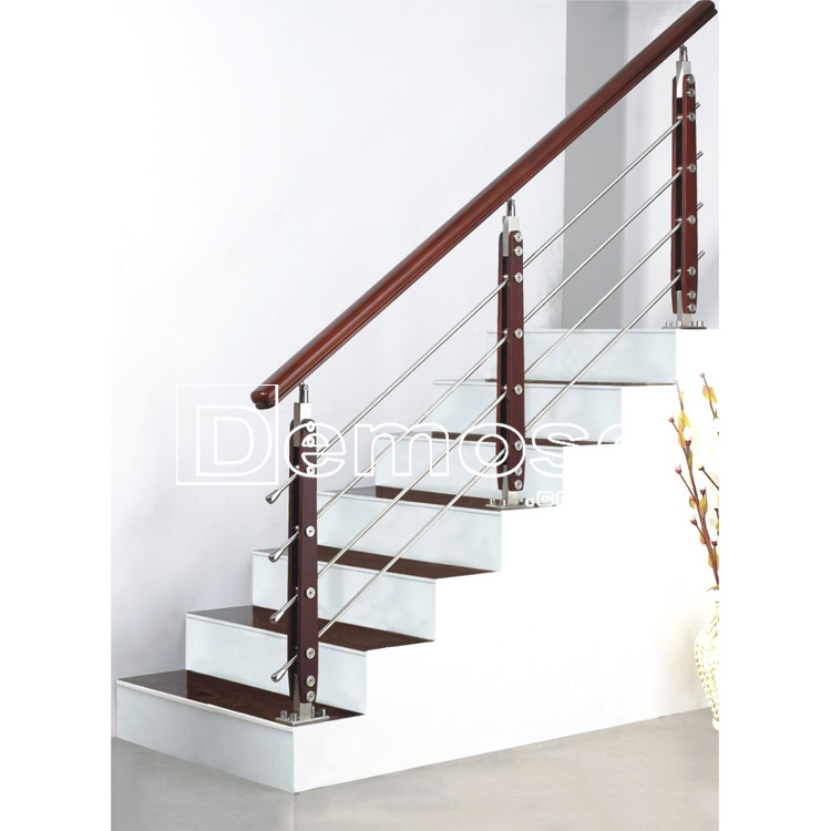 Design Stainless Steel Staircase Railing Steel Wood Post Wire Rod | Staircase Design Steel And Wood | Angle Bar Stair | U Shaped Stair | Simple | Wooden Step | Open