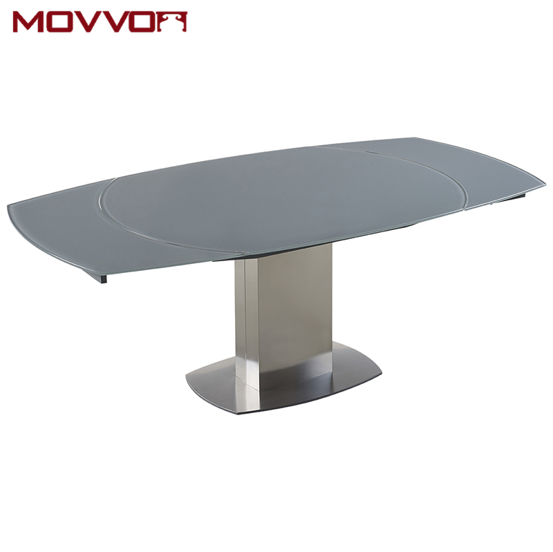 Stainless Steel Frame Rectangular Grey Tempered Glass Top Flow Swivel Extending Glass Dining Table Buy Swivel Glass Dining Tables Glass Extending Dining Tables Grey Tempered Glass Dining Tables Product On Alibaba Com