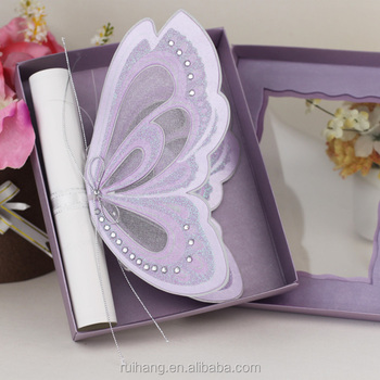 Royal Purple Color Erfly Shaped Wedding Invitations Scroll Roll Invitation Cards Make