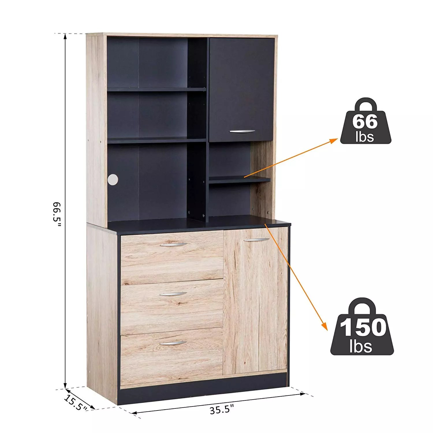 E1 Grade Engineered Wood Modern Freestanding Kitchen Buffet Cabinet Design With Microwave Storage Hutch Black And Oak Buy Kitchen Cabinet Design Kitchen Storage Hutch Kitchen Buffet Cabinet Product On Alibaba Com
