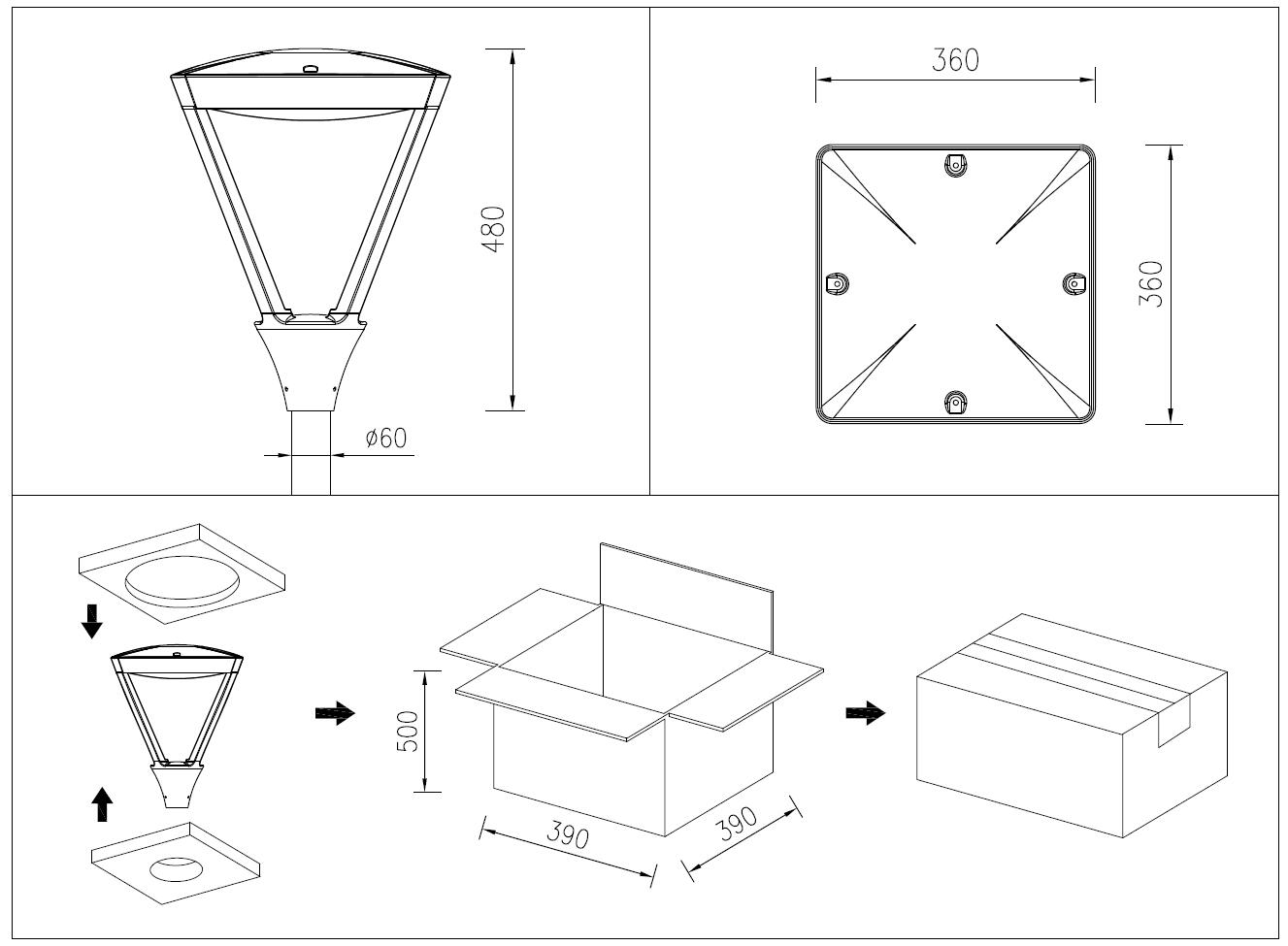 Enectuv Cb Ce Rohs Ip66 Dimmable Led Post Top Lantern 60w