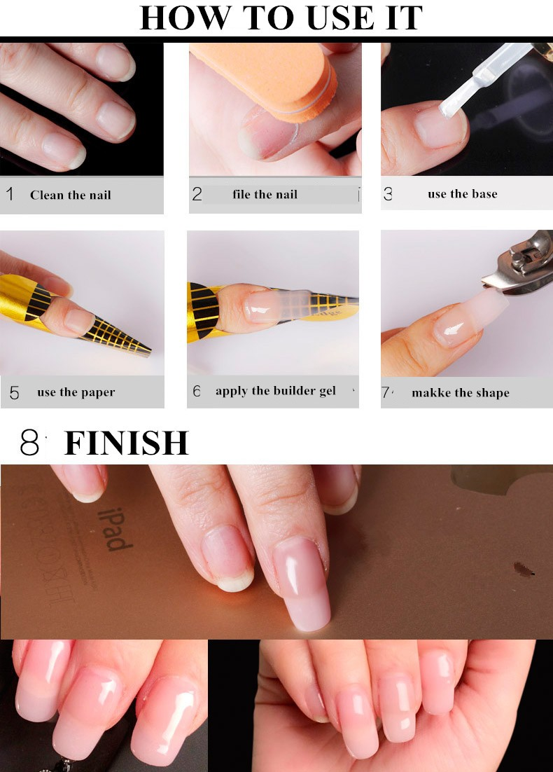 2017 Gel Lacquer Nail Extension Kit Clear Uv Builder