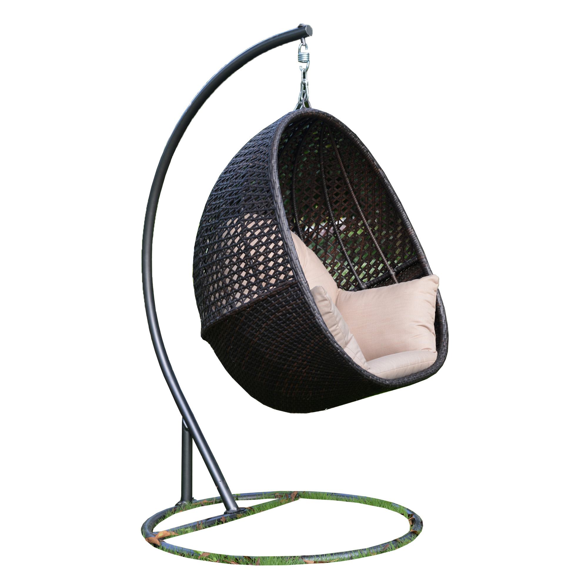 Egg Shape Indoor Outdoor Rattan Cocoon Hanging Swing Chair With Stand And Cushion Buy Rattan Swing Chair Rattan Swing Chair Rattan Swing Hanging