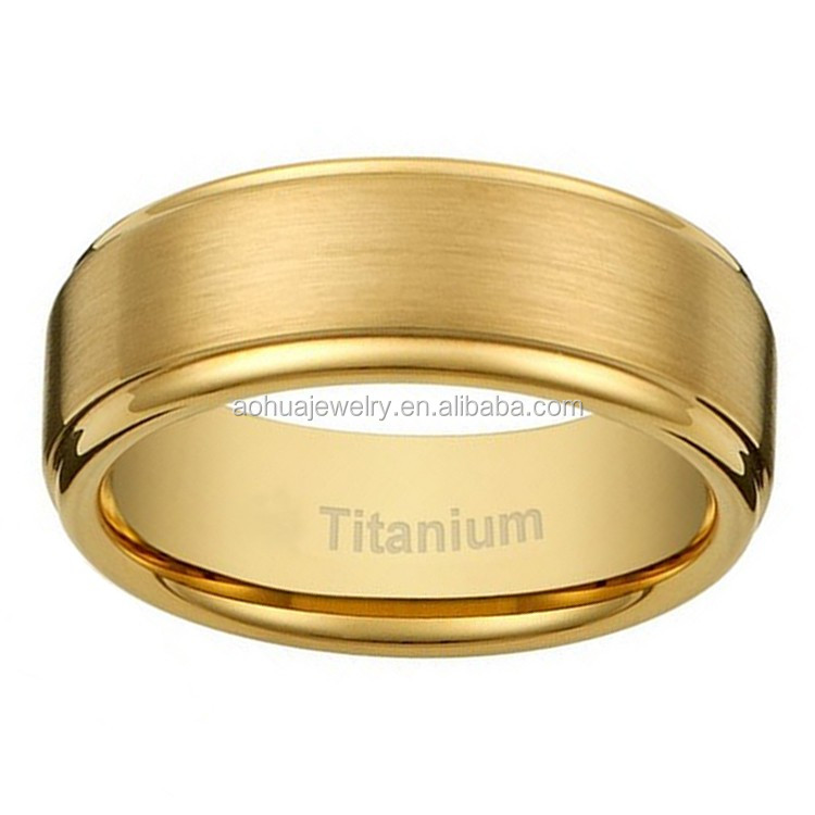 Latest Gold Ring Designs8mm Mens Titanium Gold Plated