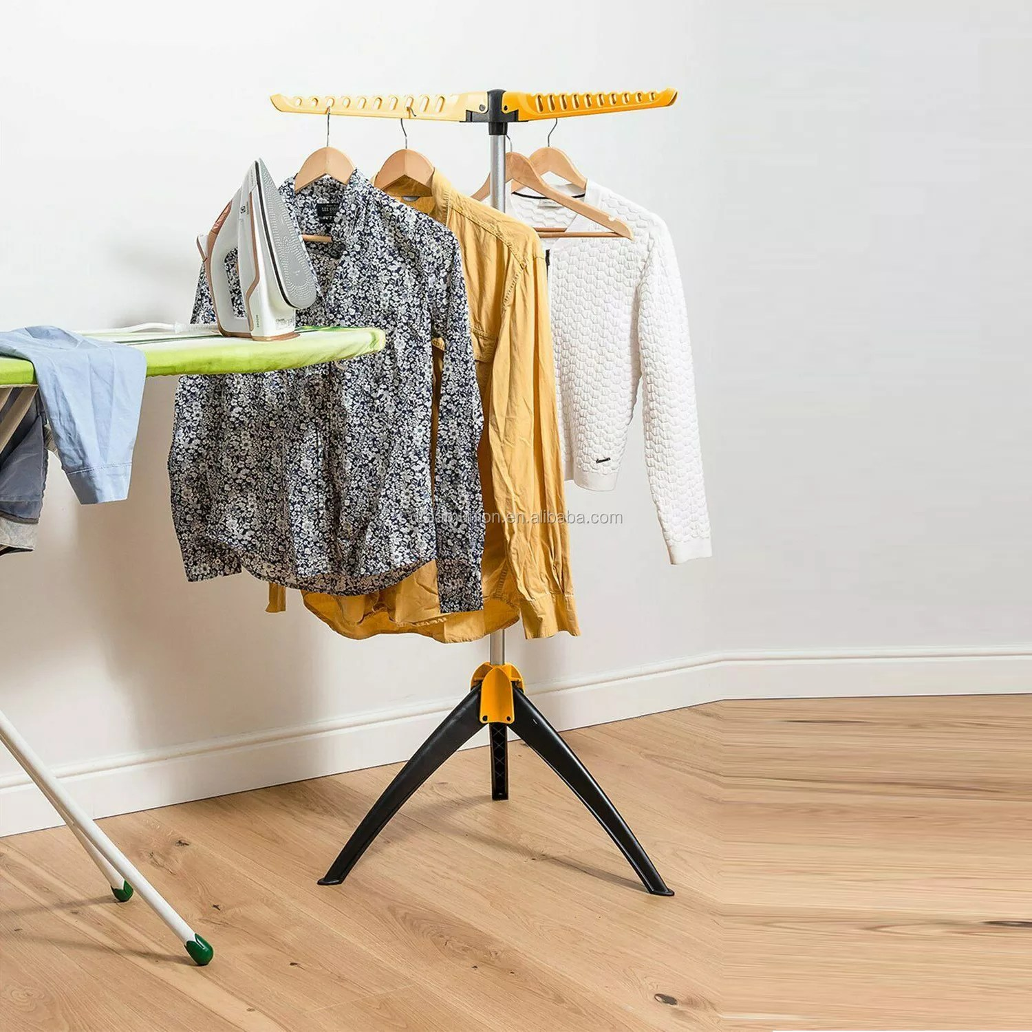 tripod collapsible portable clothes drying rack foldable hanger organizer stand buy tripod standing clothes hanger product on alibaba com