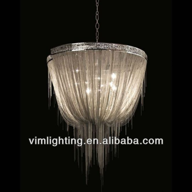 Modern Silver Chain Chandelier For Hotel Project 8518 6 Lighting Fixture Pendant