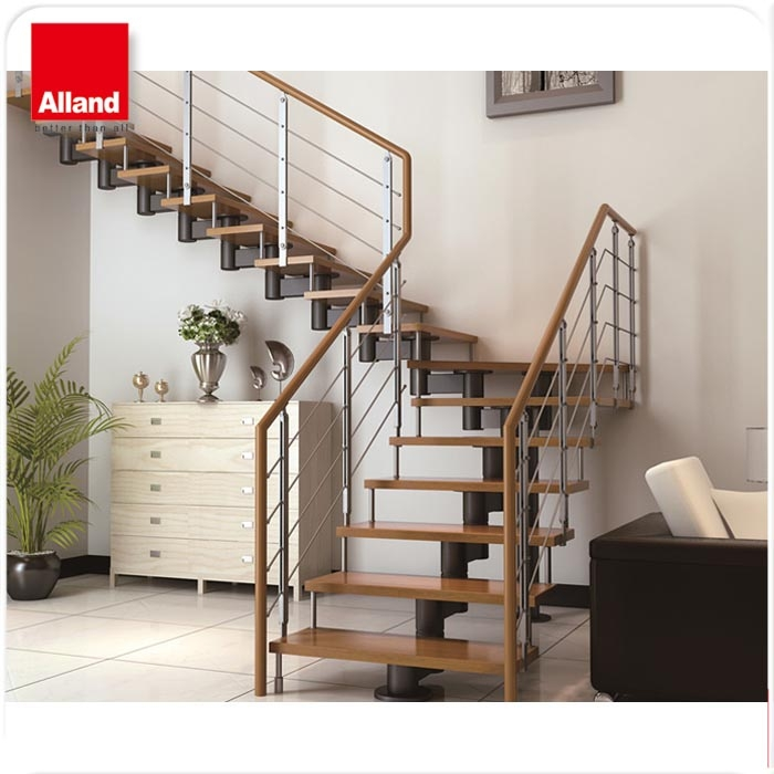 Modern Safety Solid Wood Step Staircase Designs For Indoor Stairs   Solid Wood Steps For Stairs   Staircase   Iron Rod   Oak Veneer   Rounded   Stained