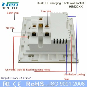 Usb Power Surface Mount Outlet With Box Double Usb Wall Socket 5v24a Charging Phones Without