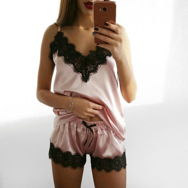 Satin Lace Sleepwear Set