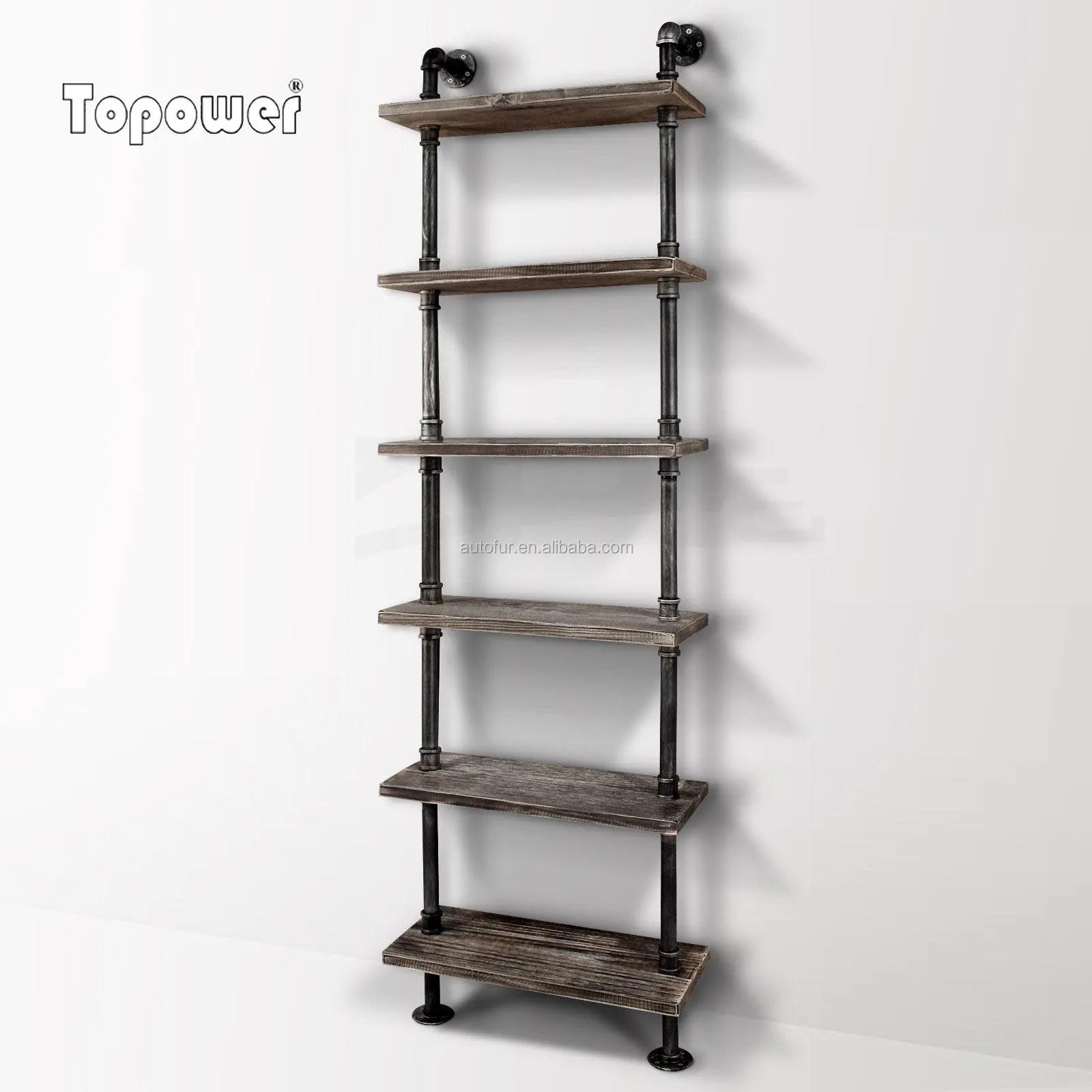 etagere murale et bibliotheque en bois avec tuyau en acier galvanise au style industriel nouveaute buy etagere murale en bois et etagere etagere