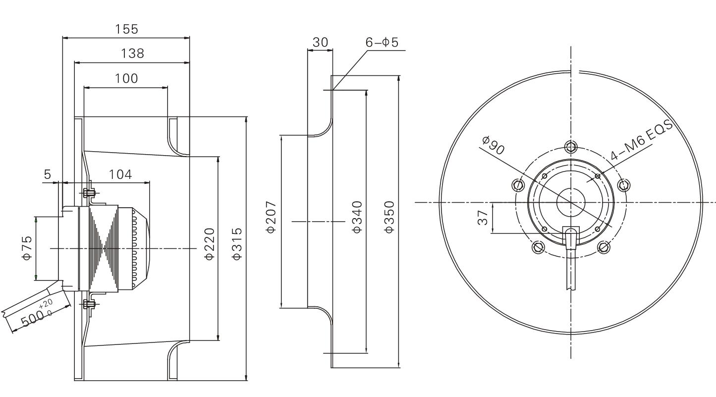 Ac 310 Mm Diameter Centrifugal Exhaust Fan Blower