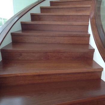 Personal Custom Full Set Indonesian Merbau Solid Wood Stair Tread   Real Wood Stair Treads   Outdoor Rubber   Solid Oak   Acacia   Red Oak   Standard Length 48