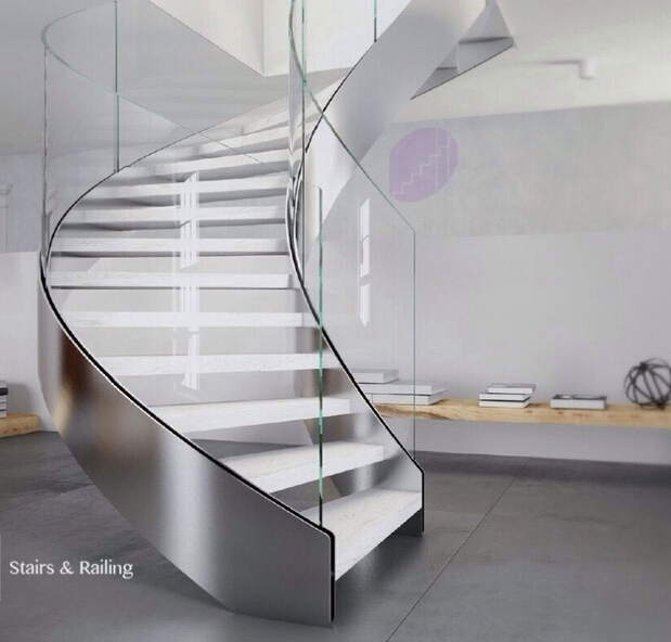 Internal Residential Steel Stair Indoor Curved Staircase Design | Curved Glass Stair Railing | Residential Glass | Commercial Glass | Band Glass | Walnut | Frameless Glass
