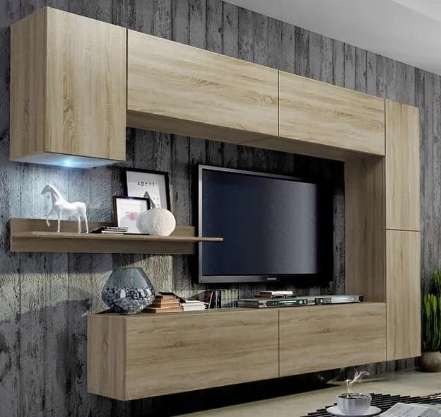 boitier mural de tv simple avec systeme push up pour ouverture plaque compacte en polymere noir brillant diy bricolage buy unite murale meuble tv