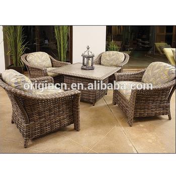 style britannique elegante terrasse meubles en osier ensemble avec table et canape fauteuil rotin