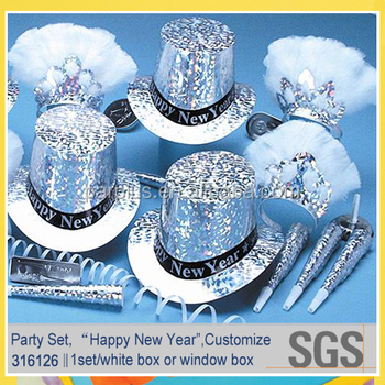 Awesome New Year's Eve Kit Foil Hat/horn/tiaras/streamer ...