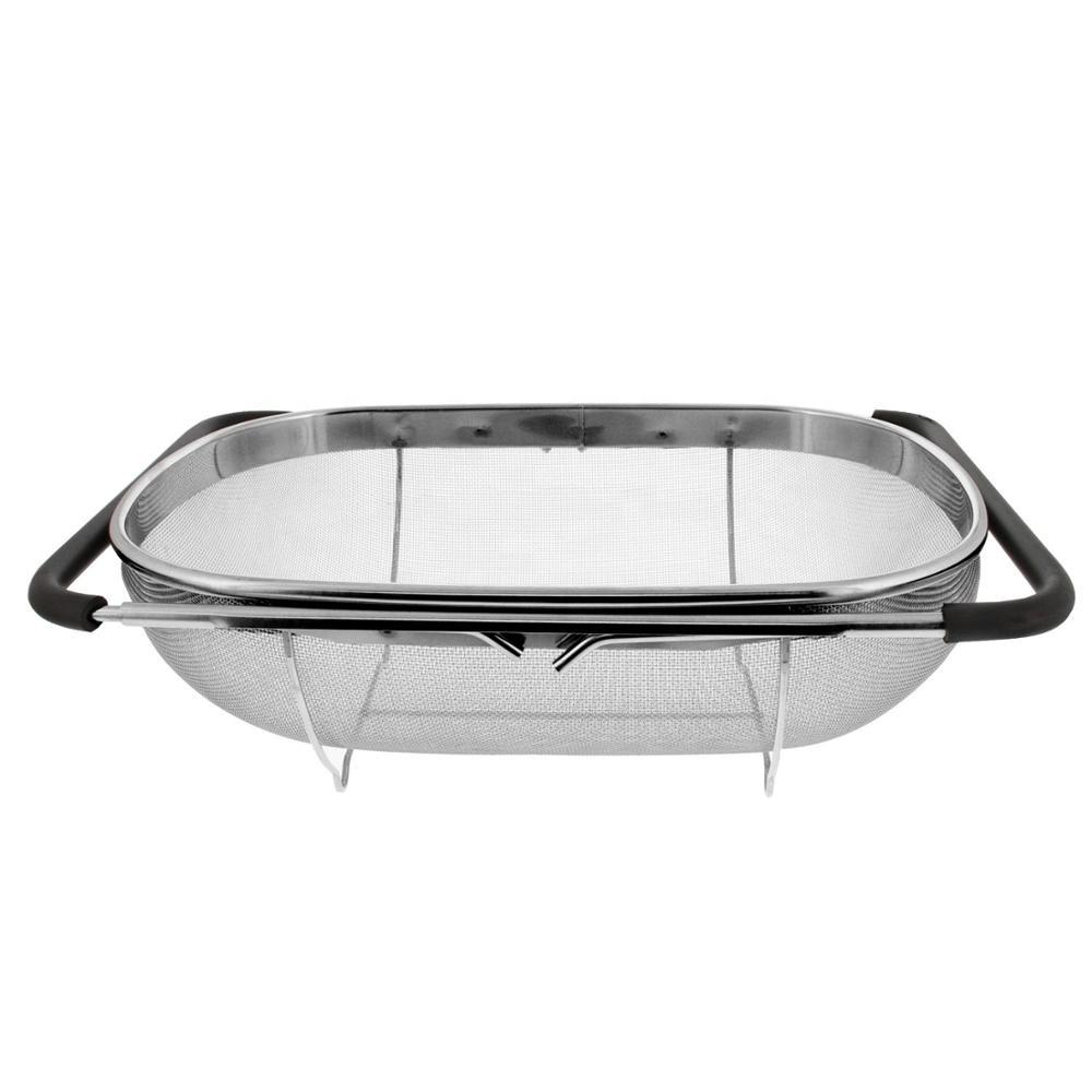 expandable rubber handles fine mesh strainer over the sink colander basket adjustable colander buy stainless steel colander with extendable