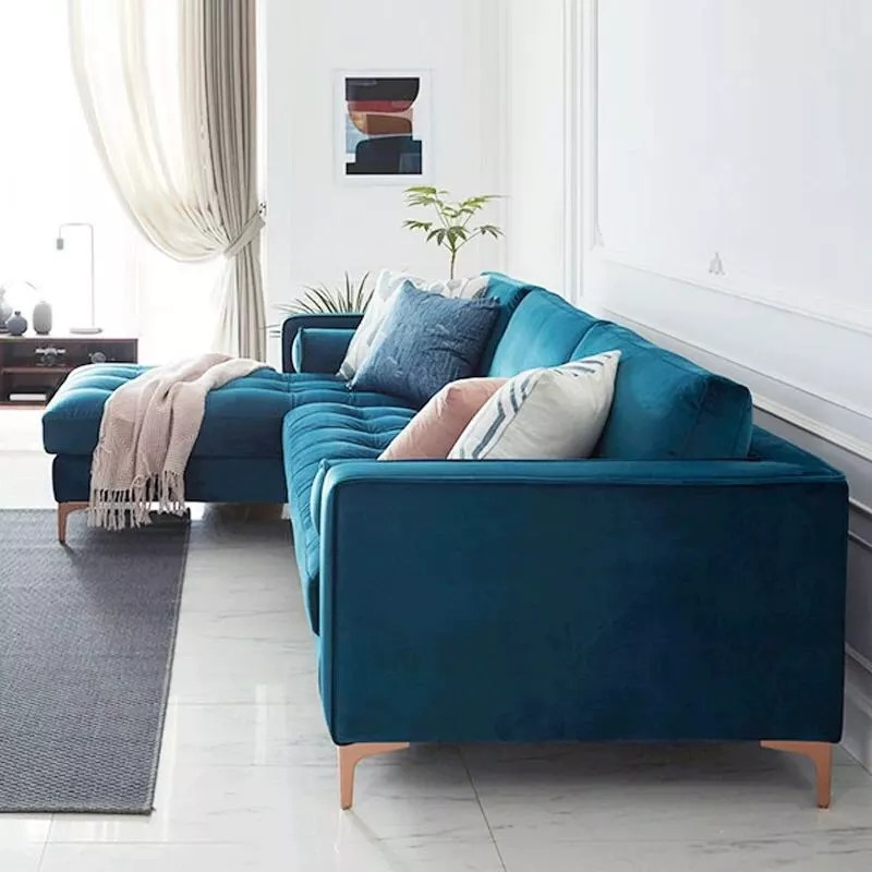 levi blue velvet corner sectional sofa 120 inches left right facing v p f3006 buy corner sectional sofa corner sectional sofa corner sectional