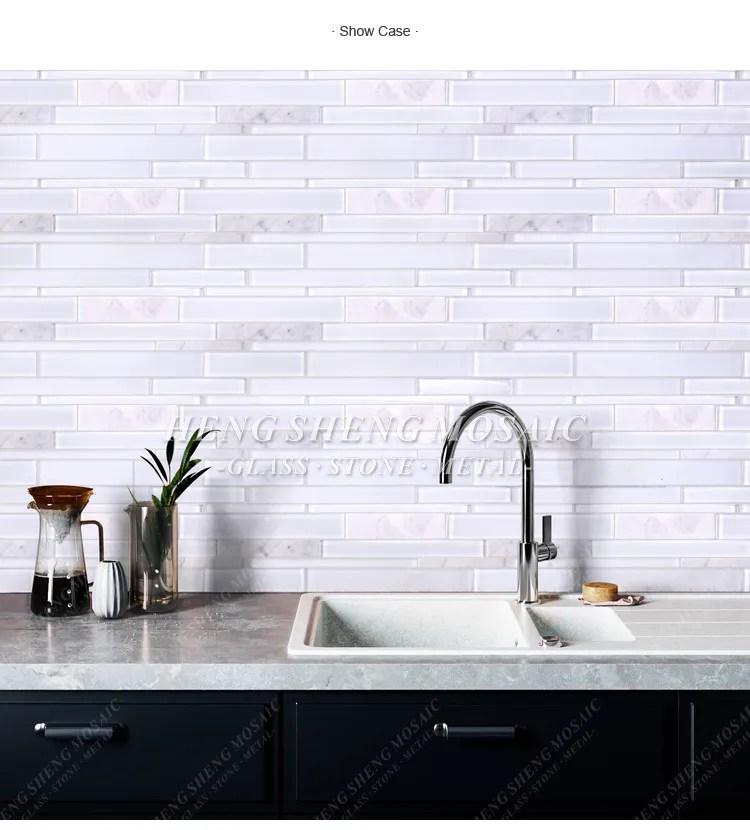 hot sale latest design white carrara marble mixed glass mosaic kitchen backsplash subway tile view kitchen tile heng sheng product details from