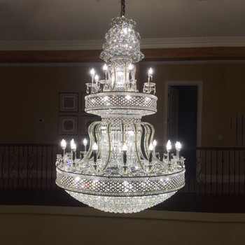 Philippines Crystal Grand Hall Giant Chandelier Pendant Lamp Bead Hanging Decoration 63001