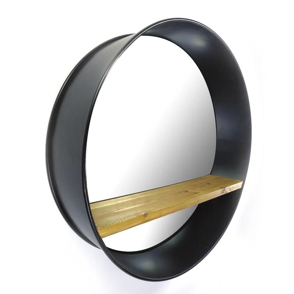 miroir mural rond noir a suspendre sur un cadre metallique avec une etagere en bois massif pour la salle de bain ou le salon 30 31 pouces 79 5cm buy