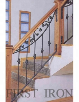 Antique Wrought Iron Wooden Stair Railings Buy Interior Wrought | Iron And Wood Railing | Modern | Brown | Front | Horizontal | Craftsman