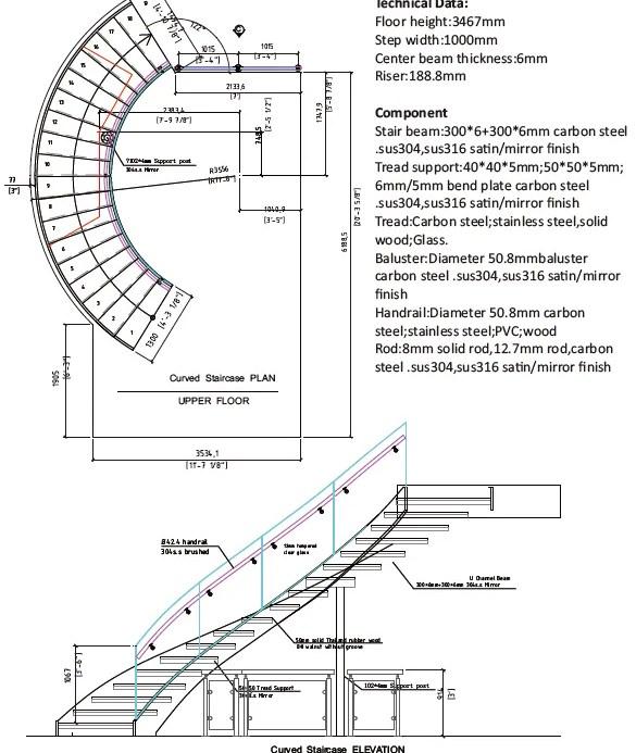 Internal Residential Steel Stair Indoor Curved Staircase Design | Curved Staircase Design Plans | Slightly Curved | Stainless Steel | Wood | House | Curved Stairway