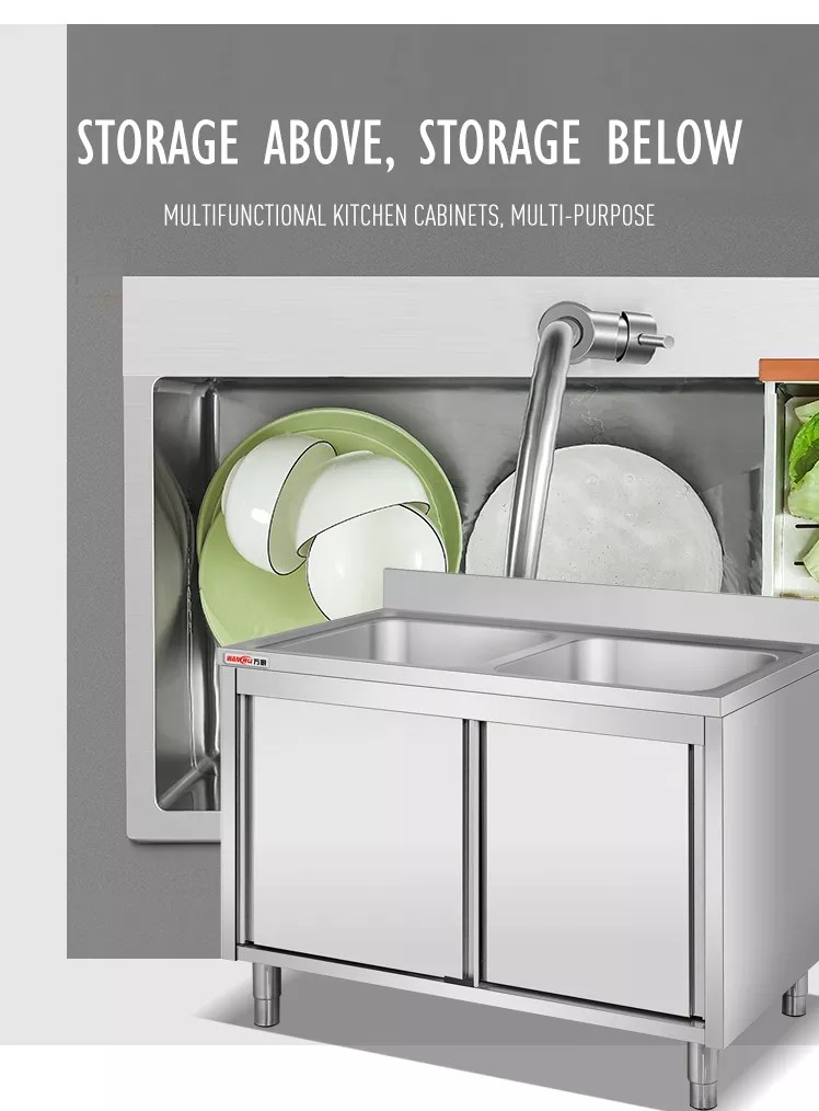 oem size kitchen sink cabinet with doors 304stainless steel one compartment sink work bench cabinet with drainboard factory buy oem size kitchen