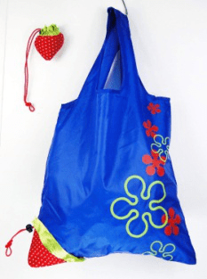 Eco custom fruits strawberry reusable foldable storage grocery shopping tote bags with logos