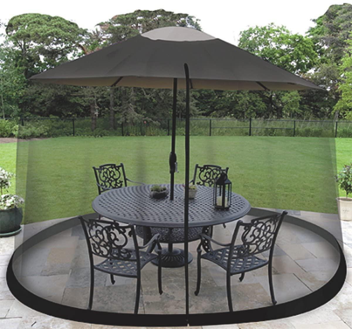 homeroots 9 patio umbrella outdoor table bug screen mesh black mosquito net canopy curtains adjustable enclosure large umbrella buy outdoor umbrella