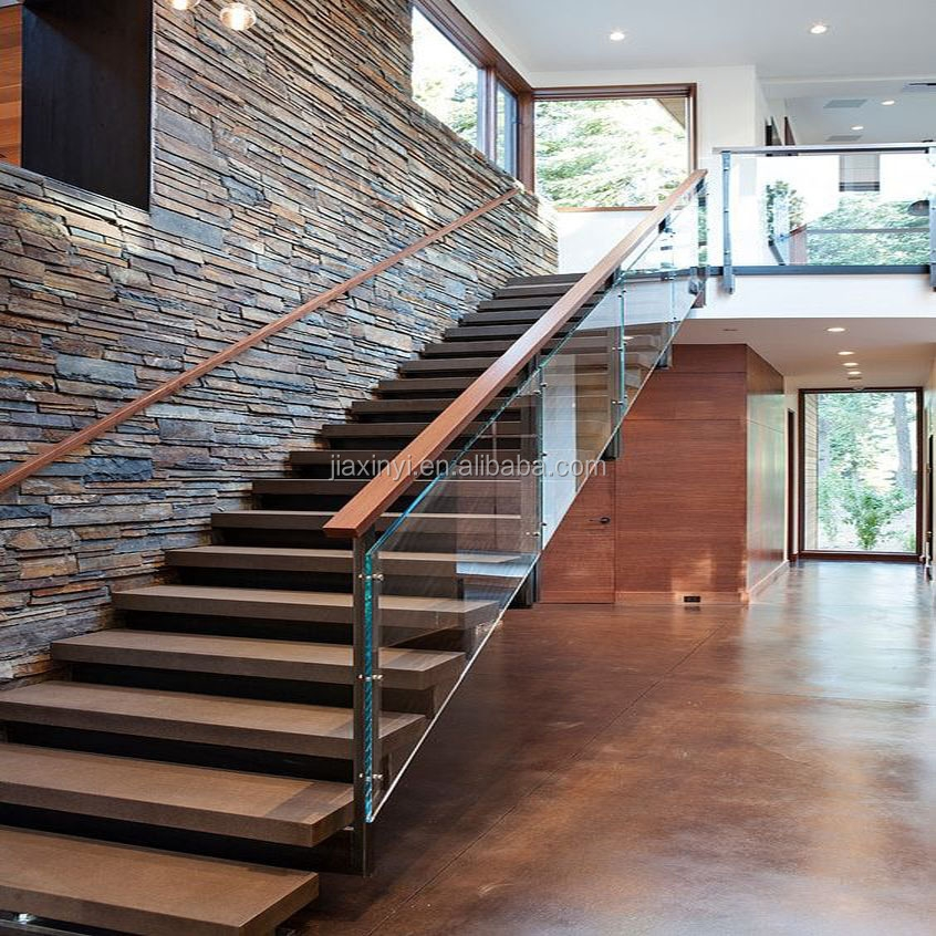 Modern Wood Solid Tread Invisible Steel Stringer With Landing | Wood And Glass Staircase | Stair Case | Simple | Spiral | Small | Light Oak Glass