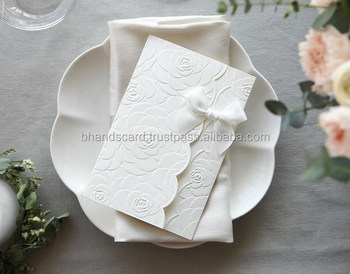 Original Bhands Card Flower Embossed Wedding Invitation With White Ribbon Bh5003