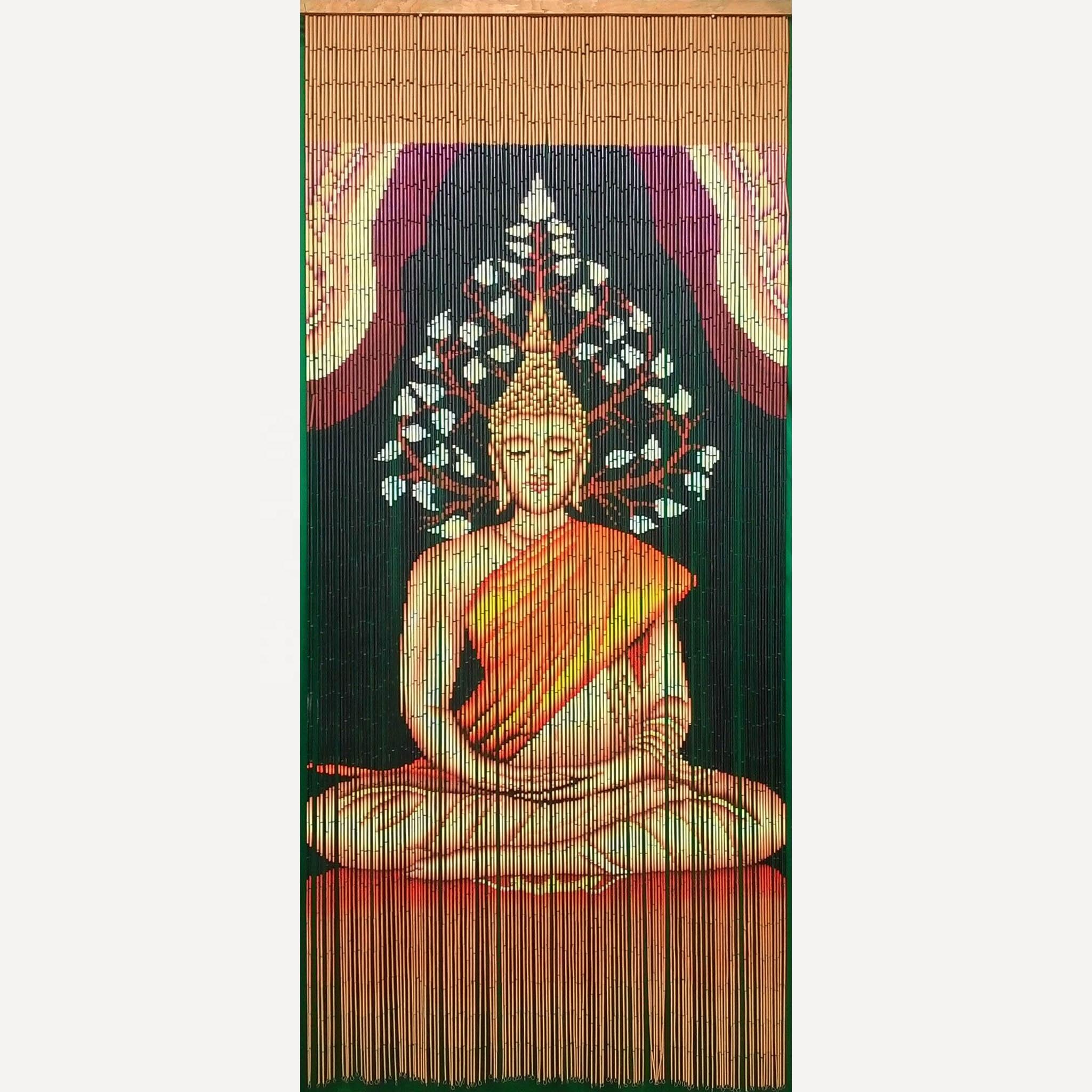 rideau de porte en bambou avec bouddha