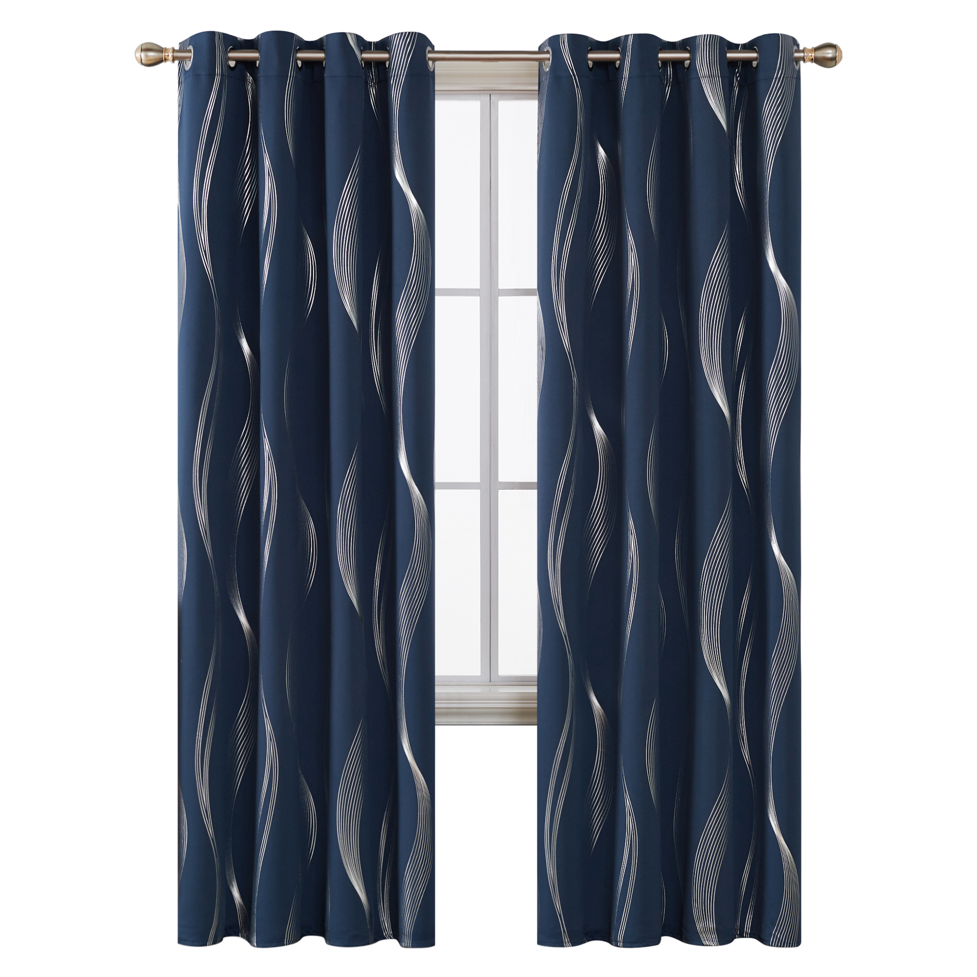 indian style navy blue stripes wave foil printed thermal insulated blackout curtains fabric for hotel room bedroom living room buy hotel room
