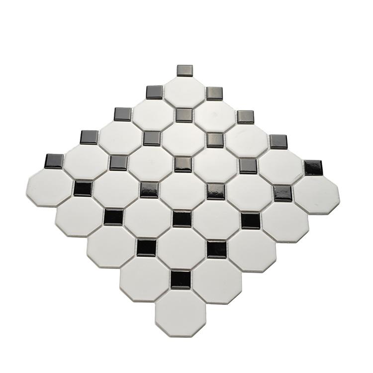 commercial non slip octagon kitchen ceramic mosaic floor tile matt glazed black and white wall tiles buy white ceramic tile ceramic mosaic