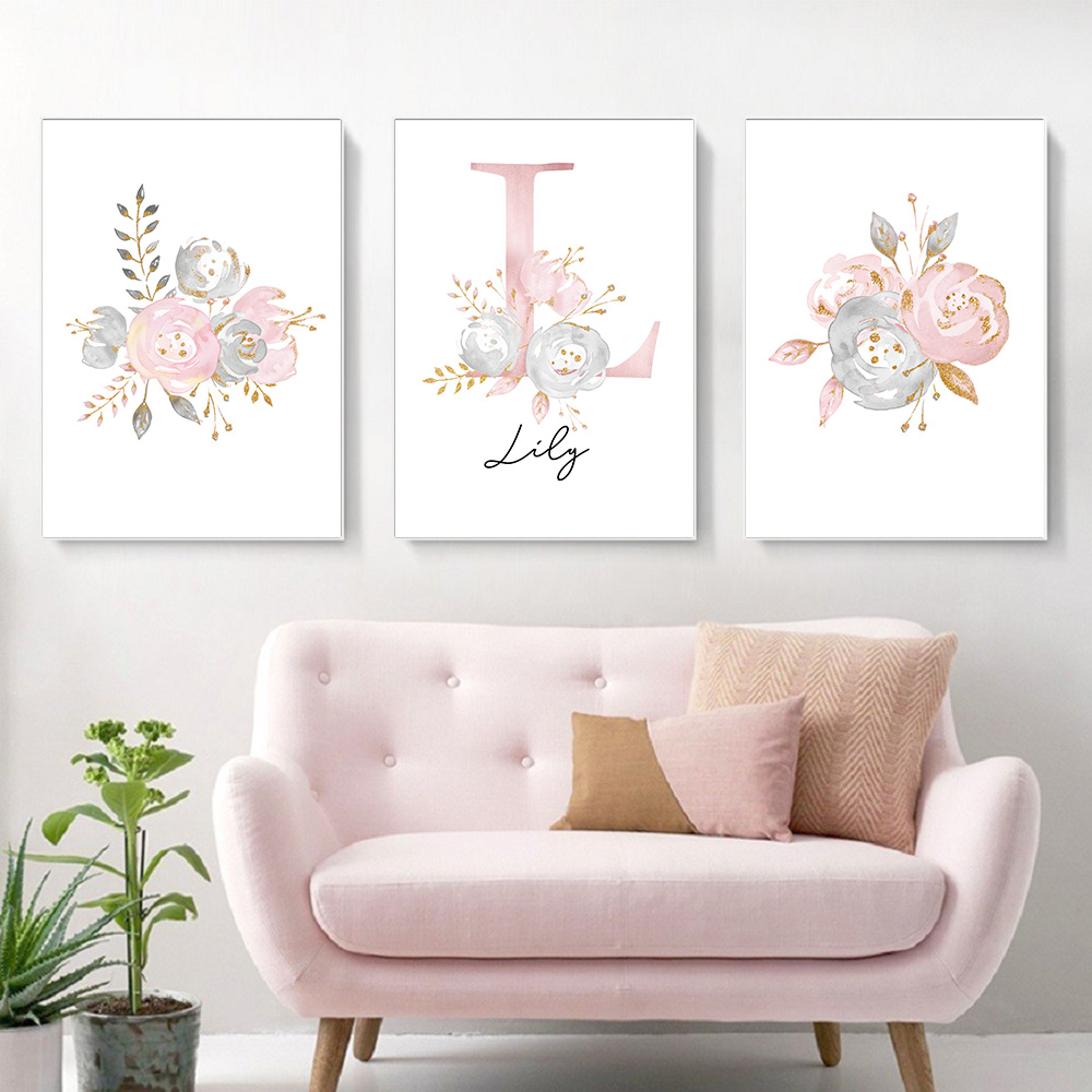 baby posters personalized girl s name custom poster nursery prints pink flowers wall art canvas painting pictures for girls room buy wall