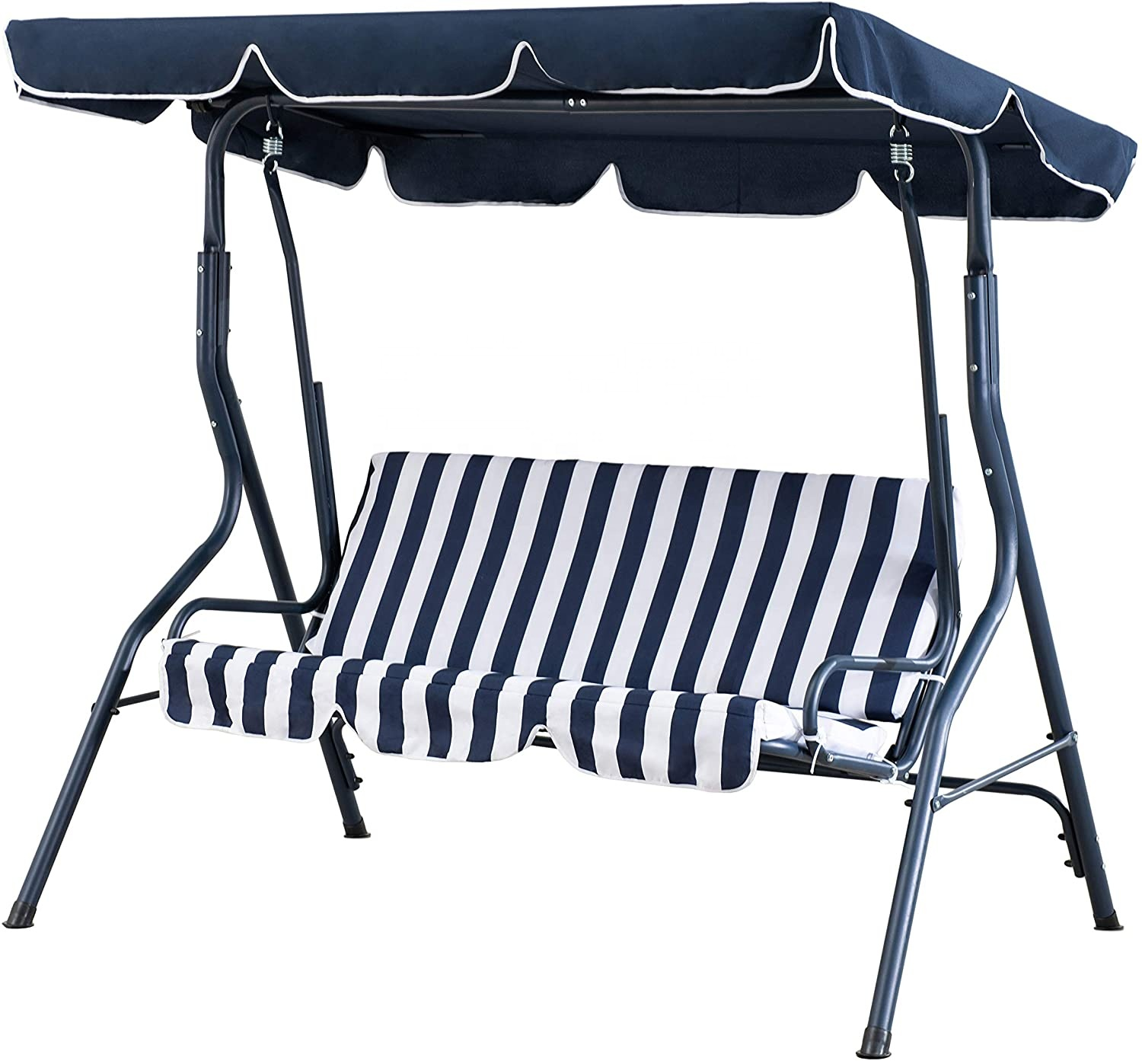 outdoor 2 seat striped patio swing with canopy buy cushioned patio swing chair swing set outdoor swing bench product on alibaba com