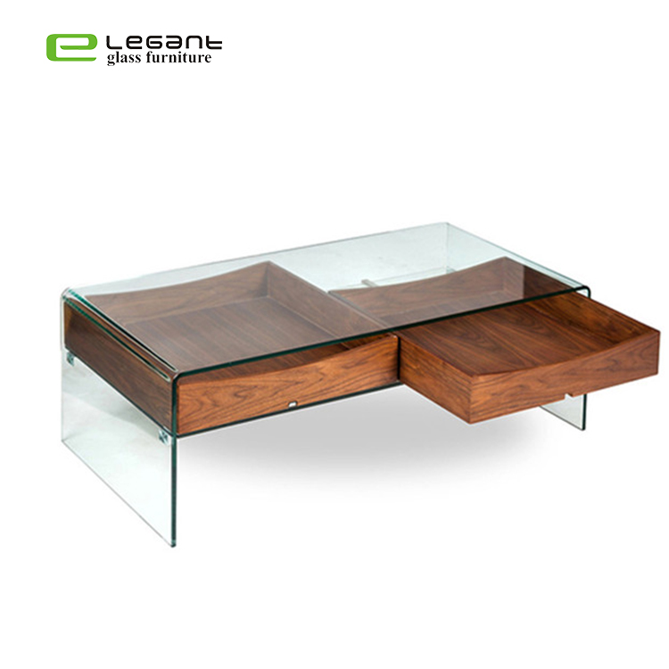 bent glass center table with two walnut wood drawers buy glass coffee tables wood glass center table glass top center table design product on