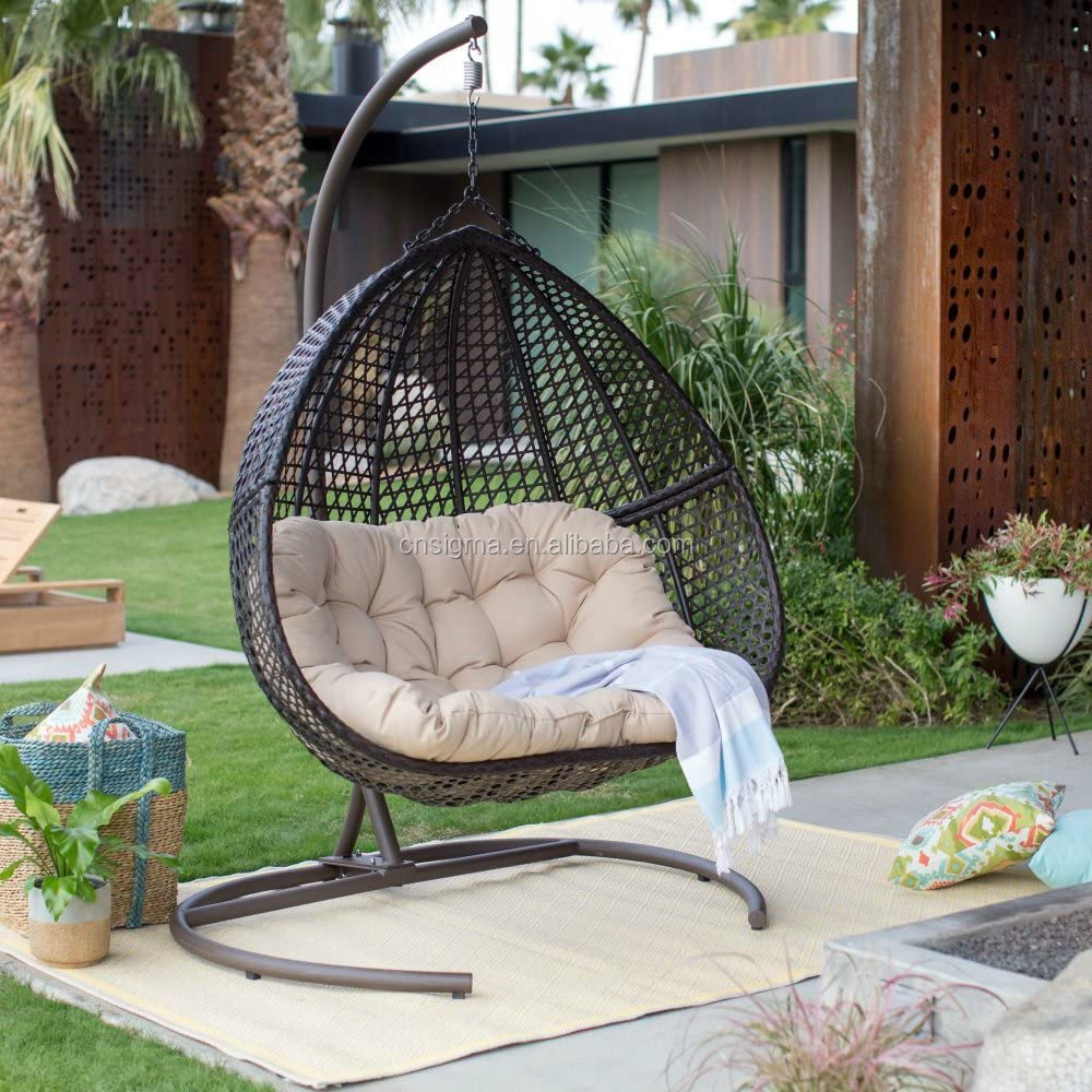 outdoor patio resin wicker hanging egg loveseat swing chair backyard furniture with cushion buy sun lounger patio swing garden furniture product on