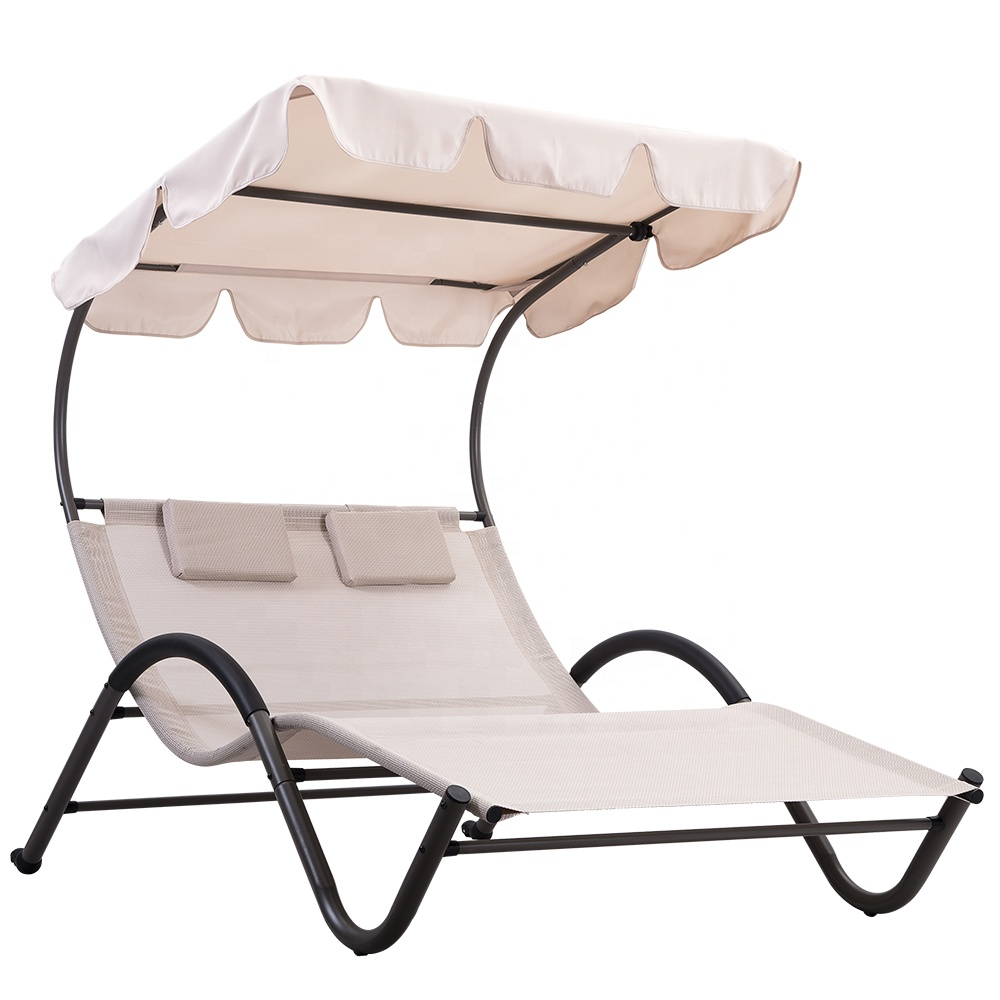 pl303 double patio chaise lounge chairs with canopy and pillows sun bed and lounger view double patio chaise lounge peter product details from