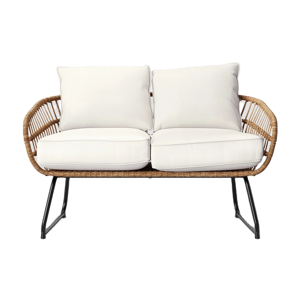 outdoor scene all weather wicker patio loveseat sofa with thick seat and back cushions buy outdoor rattan furniture garden furniture rattan wicker