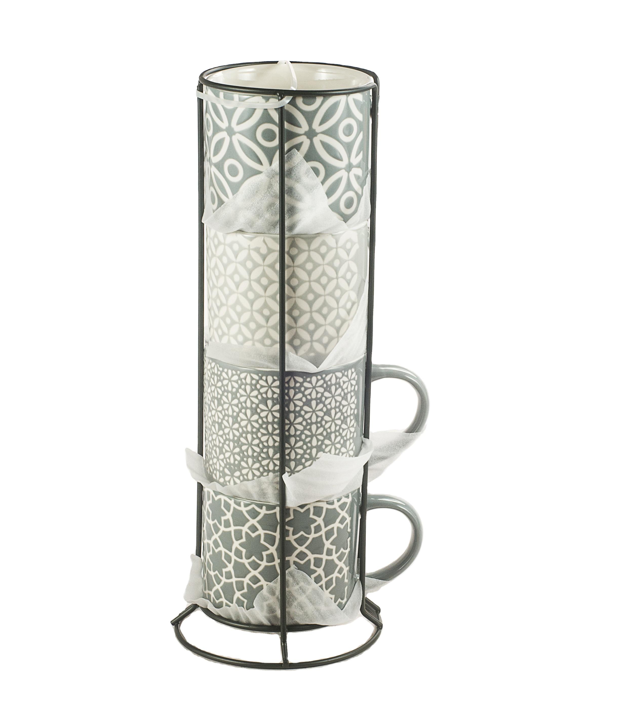 wholesale custom 16oz ceramic stacking gift coffee mug set with metal rack buy stacking coffee mugs gift sets with stand coffee mug set with metal