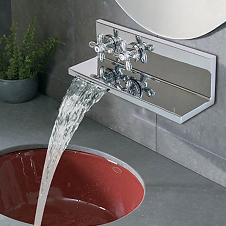 polished chrome design wall mounted sink faucet two levers wash basin water mixer taps buy basin faucet water mixer wash basin taps product on