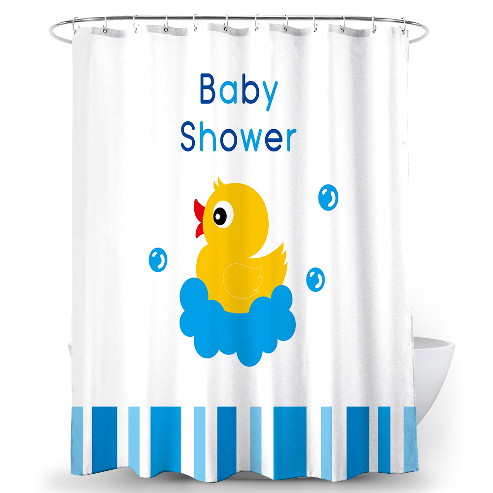 animal decor shower curtain cute yellow duck swimming in the tiffany blue water fabric bathroom set with hooks buy shower curtain fabric