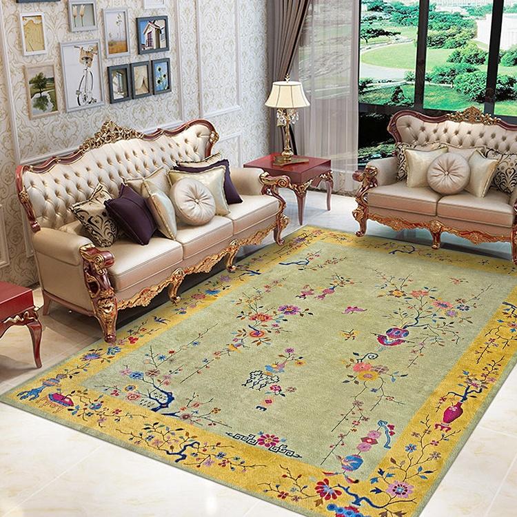 tapis de sol turc antiderapant couverture de sol de style chinois grande surface a encre pivoines avec motifs de fleurs accessoire de salon et chambre