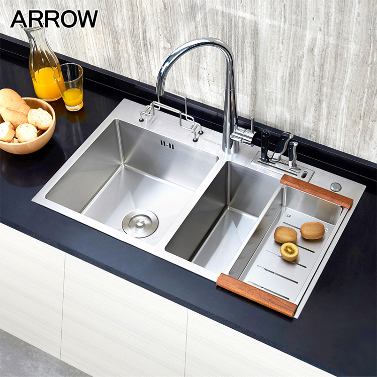 commercial handmade double bowl stainless steel kitchen sink with drainboard buy 304 stainless steel kitchen sink double bowl stainless steel