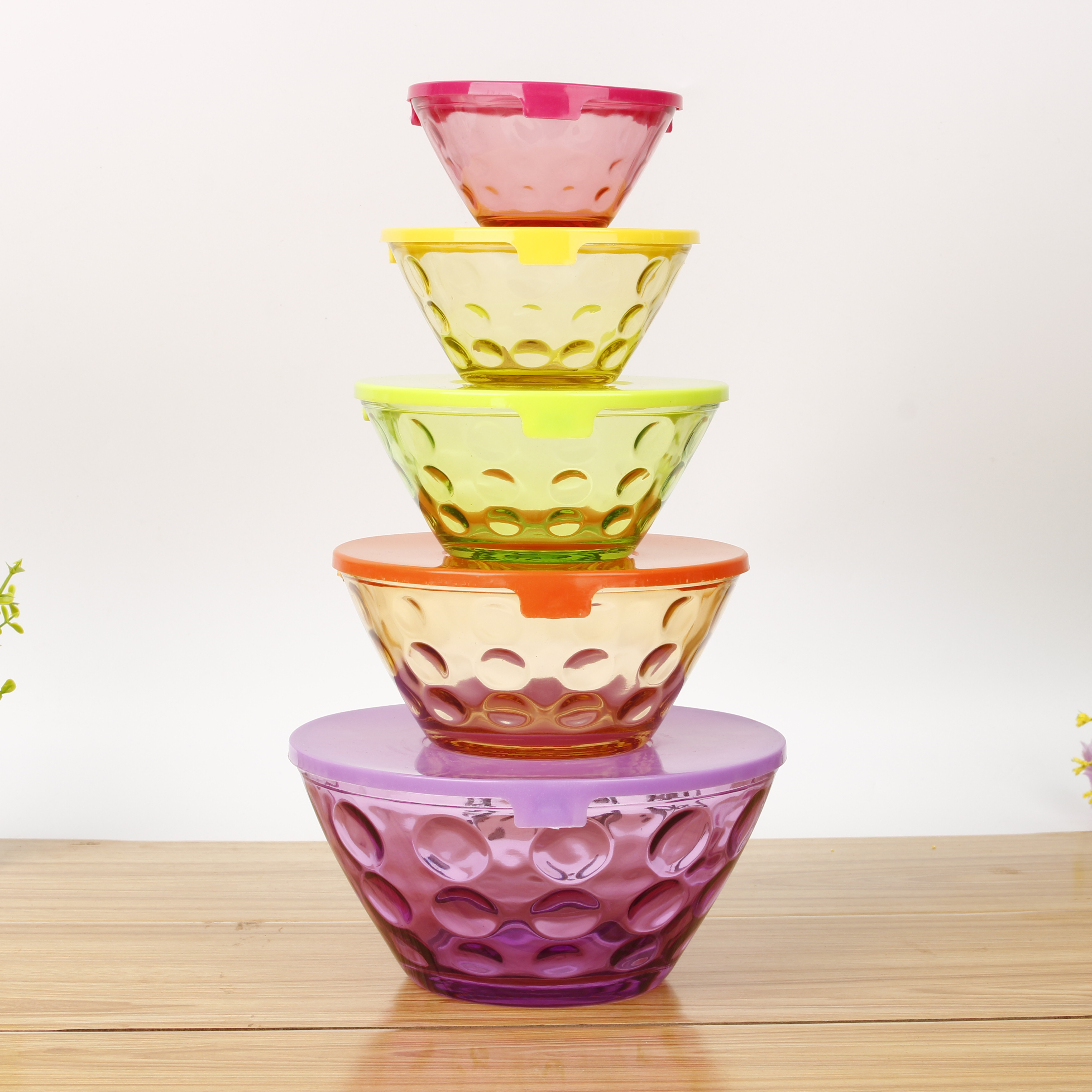 microwave oven safe glass salad bowl color sprayed 5 pcs dessert bowls glass with polyfoam packing buy glass bowl 5 pcs glass bowl set colored glass dessert bowls product on alibaba com