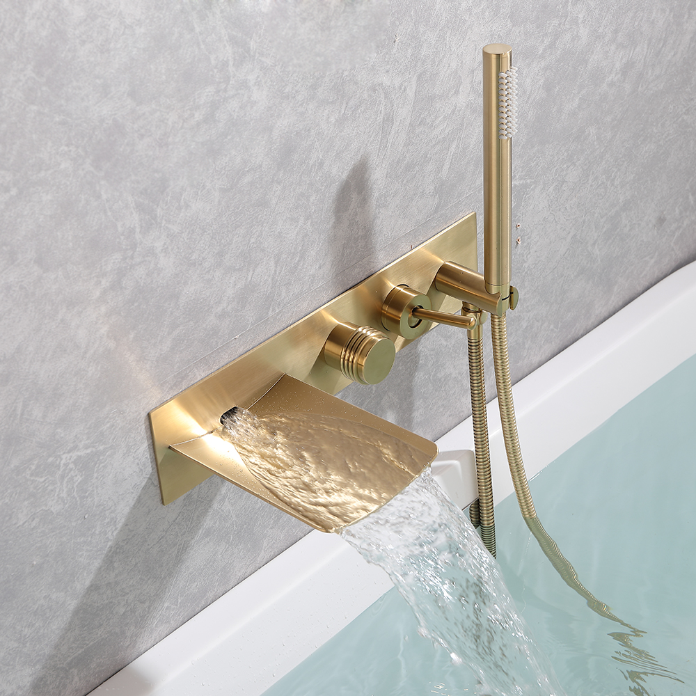 bathroom wall mounted plumbing fixtures brushed gold black concealed bathtub faucet hot cold water mixer with handheld shower buy plumbing